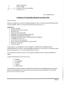 Invitation a l'assemblée générale 2018